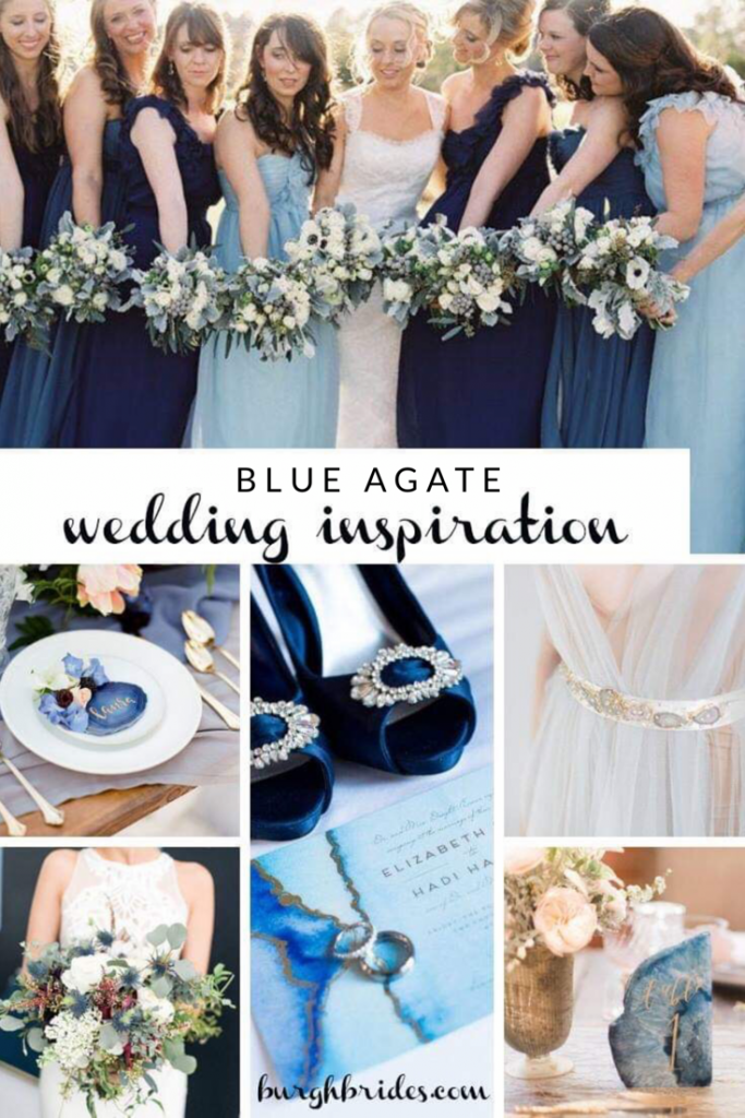 Beautiful Blue Agate Wedding Inspiration. For more wedding color ideas, visit burghbrides.com.