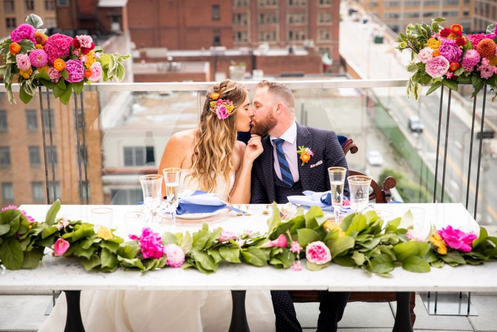 Bright Rooftop Wedding Inspired Styled Shoot. For more wedding inspiration, visit burghbrides.com!
