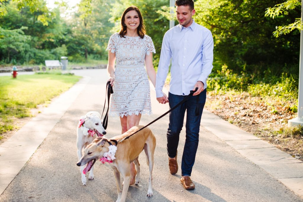 Dog-Friendly Point State Park Engagement Session. For more engagement photo ideas, visit burghbrides.com!