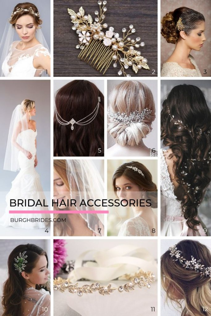 The Prettiest Bridal Hair Accessories to Complete Your Wedding Look. For more bridal inspiration, visit burghbrides.com!