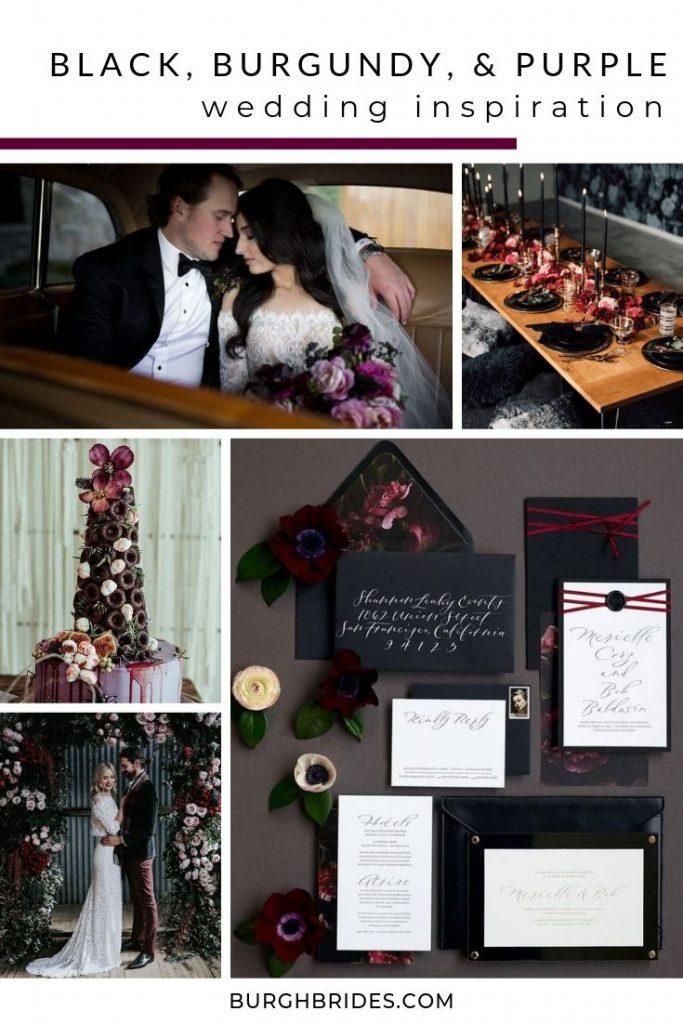Black, Burgundy, & Purple Wedding Inspiration. For more dark wedding color ideas, visit burghbrides.com!